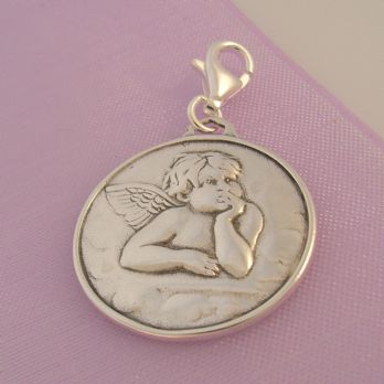 STERLING SILVER GUARDIAN ANGEL PRAYER CLIP ON CHARM - TI-09267