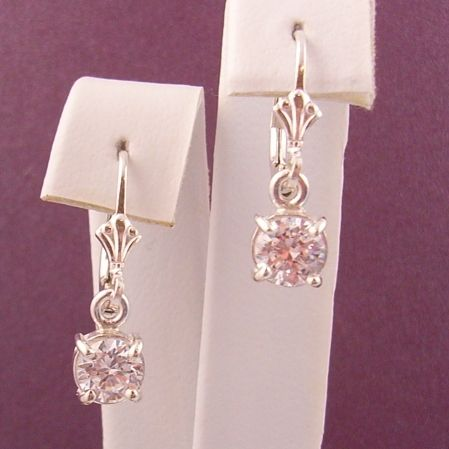 STERLING SILVER 6mm CZ CUBIC ZIRCONIA MANMADE DIAMOND DROP CONTINENTAL HOOK EARRINGS