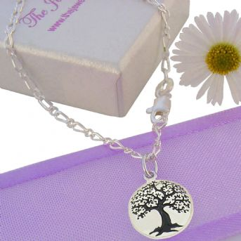 STERLING SILVER 1.7mm CURB FIGARO ANKLET CHAIN TREE OF LIFE