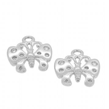 STERLING SILVER TWO 11mm BUTTERFLY for SLEEPER EARRING CHARMS