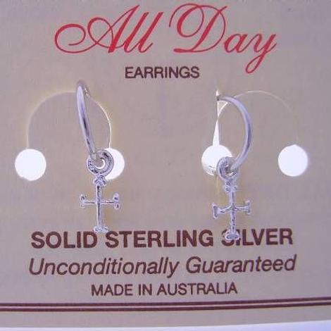 STERLING SILVER 5mm BABY CROSS CHARMS on 8MM SLEEPER EARRINGS