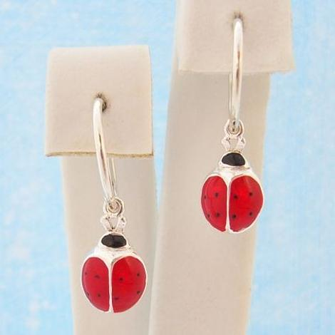 STERLING SILVER 8mm LADYBUG CHARMS SMALL 12mm HINGED SLEEPER EARRINGS