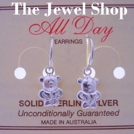 STERLING SILVER 9mm TEDDY BEAR CHARMS SMALL 12mm HINGED SLEEPER EARRINGS