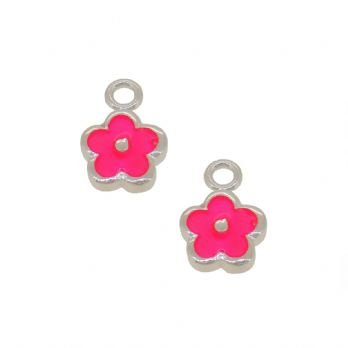 STERLING SILVER TWO PASTICHE PINK DAISY FLOWER CHARMS for SLEEPER EARRINGS