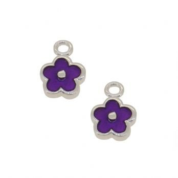 STERLING SILVER TWO PASTICHE PURPLE DAISY FLOWER CHARMS for SLEEPER EARRINGS