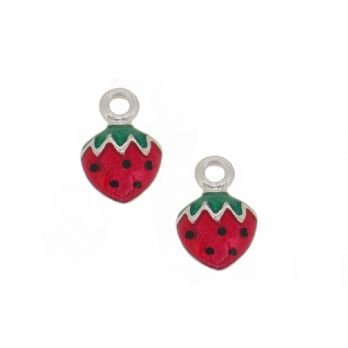 STERLING SILVER TWO PASTICHE STRAWBERRY CHARMS for SLEEPER EARRINGS