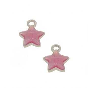 STERLING SILVER TWO PASTICHE BABY PINK STAR CHARMS for SLEEPER EARRINGS