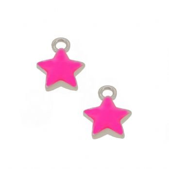 STERLING SILVER TWO PASTICHE PINK STAR CHARMS for SLEEPER EARRINGS