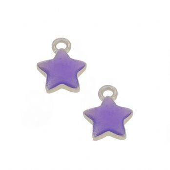 STERLING SILVER TWO PASTICHE LAVENDER STAR CHARMS for SLEEPER EARRINGS