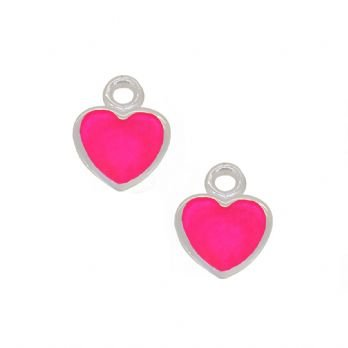 STERLING SILVER TWO PASTICHE PINK LOVE HEART CHARMS for SLEEPER EARRINGS