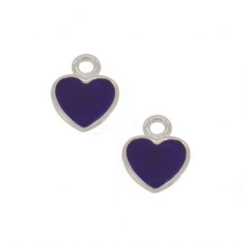 STERLING SILVER TWO PASTICHE PURPLE LOVE HEART CHARMS for SLEEPER EARRINGS