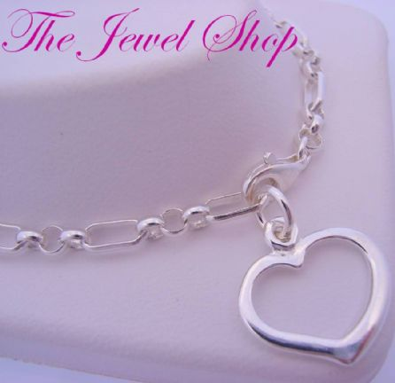 4.5g STERLING SILVER FIGARO CURB 16mm SWING HEART CHARM BRACELET