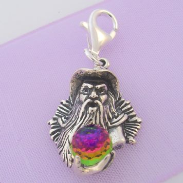 STERLING SILVER WIZARD with CRYSTAL BALL CLIP ON CHARM - TI-56006