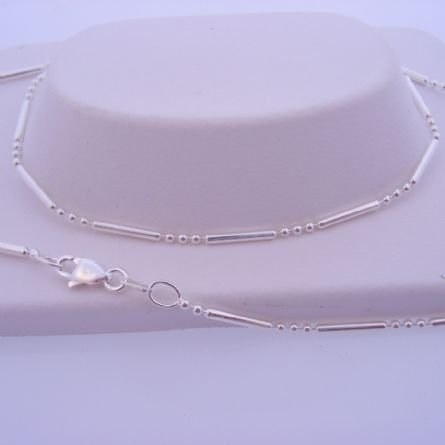 4g STERLING SILVER 1.5mm ROUND BALL & BAR DESIGN 45cm NECKLACE