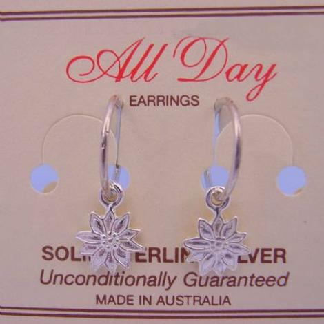 STERLING SILVER 9mm DAISY FLOWER CHARMS 14mm HINGED SLEEPER EARRINGS