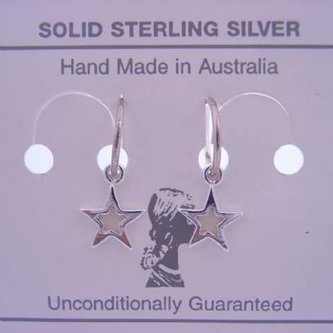 STERLING SILVER 8mm STAR CHARMS 8mm SLEEPER EARRINGS