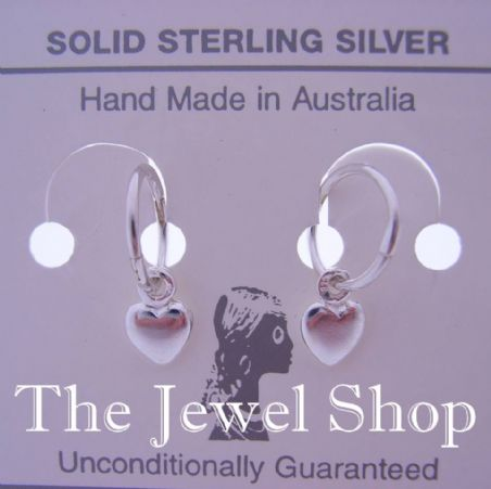 STERLING SILVER 6mm BABY HEART CHARMS TINY MICRO 8mm SLEEPER HINGED SLEEPER EARRINGS