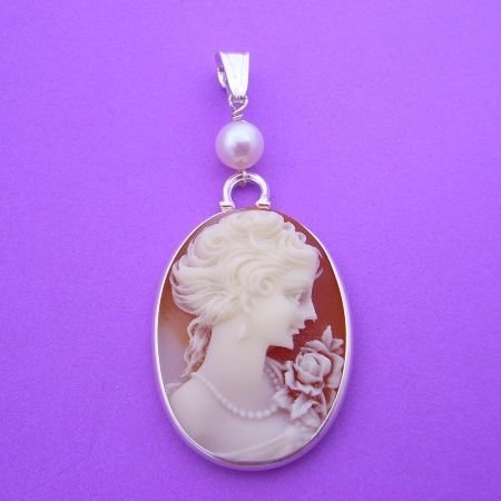 STERLING SILVER CAMEO PEARL NECKLACE PENDANT