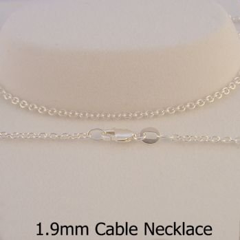 STERLING SILVER 1.9mm CABLE CHAIN NECKLACE -N-925-CA50