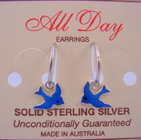 STERLING SILVER 10mm BLUEBIRD OF HAPPINESS CHARMS HINGED SLEEPER EARRINGS