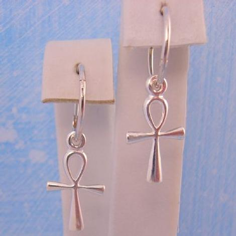 STERLING SILVER EGYPTIAN ANKH CHARMS SMALL 12mm HINGED SLEEPER EARRINGS