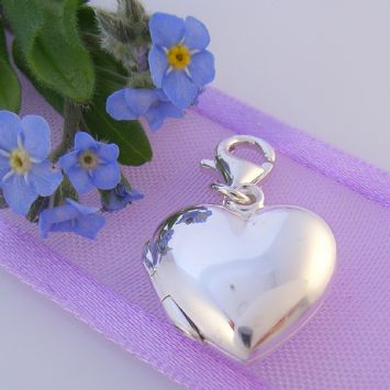 STERLING SILVER 14mm LOVE HEART PHOTO LOCKET CLIP ON CHARM -925-54-706-7719