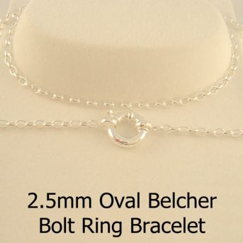 STERLING SILVER 2.5mm OVAL BELCHER BOLT RING BRACELET -BLET-2.5mm-SS-BO1