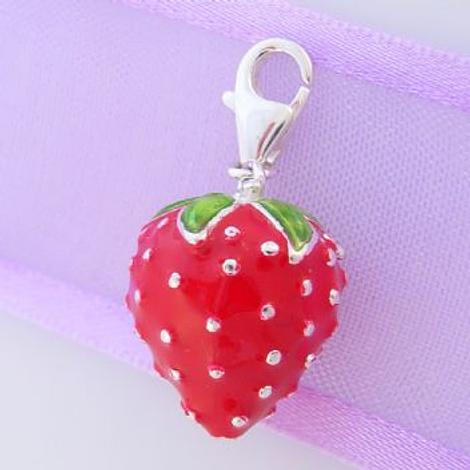 STERLING SILVER 13mm RED STRAWBERRY CLIP ON CHARM - JCV9