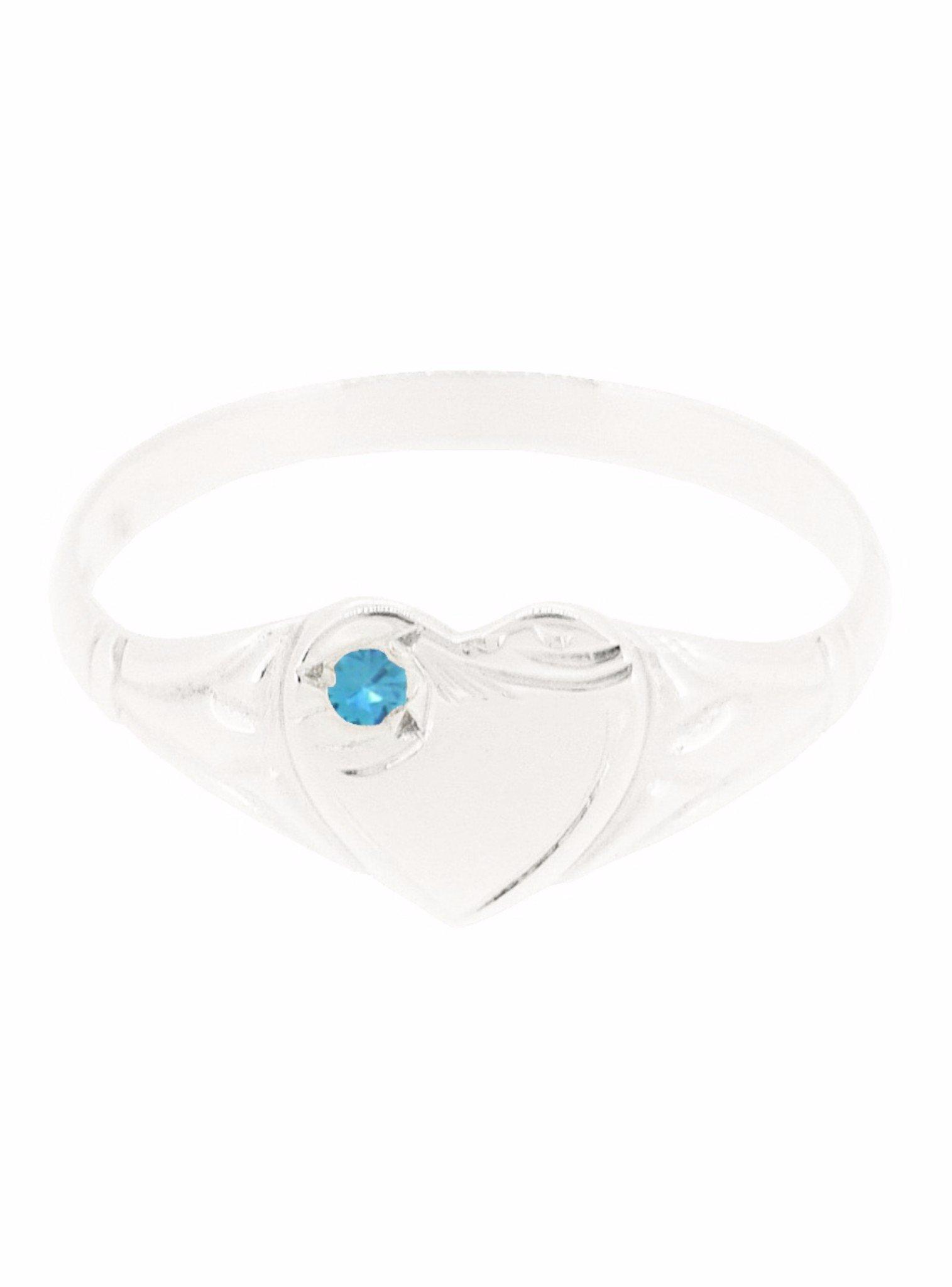 Sterling Silver Birthstone Heart Signet Ring