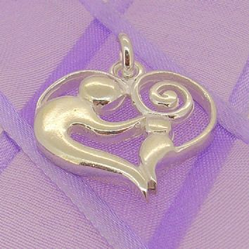 STERLING SILVER 23mm MOTHER BABY CHILD CHARM PENDANT