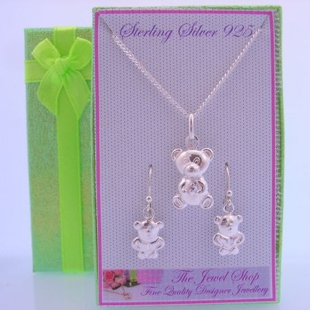 STERLING SILVER MATCHING TEDDY BEAR NECKLACE & EARRINGS GORGEOUS SHIMMERING GIFT BOX