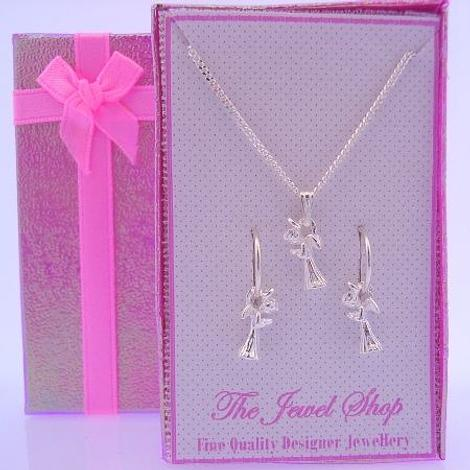 STERLING SILVER MATCHING GUARDIAN ANGEL CHARM NECKLACE & 12mm SLEEPER EARRINGS GORGEOUS SHIMMERING GIFT BOX