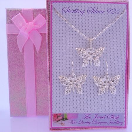 STERLING SILVER FILIGEE BUTTERFLY EARRINGS NECKLACE GORGEOUS SHIMMERING GIFT BOX