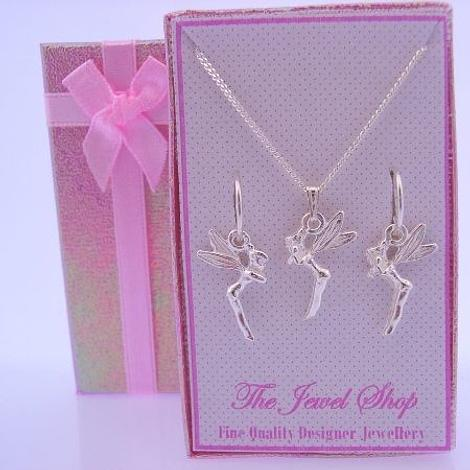 STERLING SILVER MATCHING TINKERBELL FAIRY NECKLACE & 12mm SLEEPER EARRINGS GORGEOUS SHIMMERING GIFT BOX