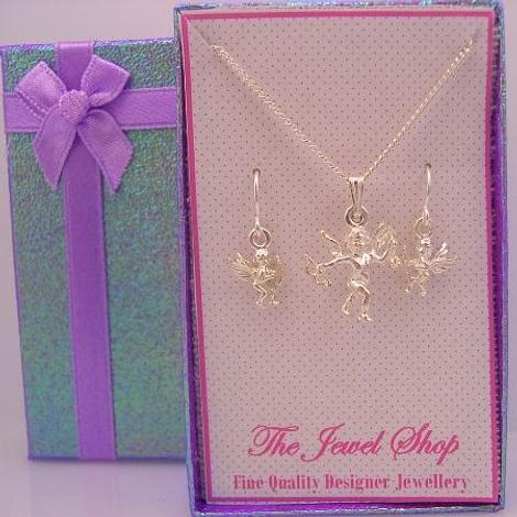 STERLING SILVER MATCHING CUPID LOVE ANGEL CHARM NECKLACE & EARRINGS GORGEOUS SHIMMERING GIFT BOX