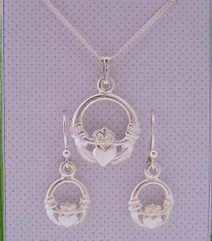 IRISH CLADDAGH NECKLACE & EARRINGS MATCHING SET