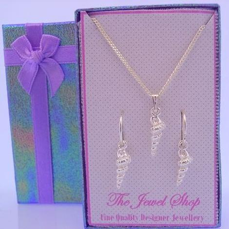 STERLING SILVER SEASHELL MATCHING NECKLACE & SLEEPER EARRINGS GORGEOUS GIFT BOX