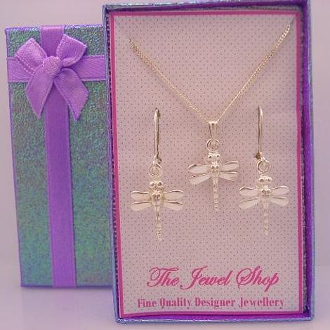 STERLING SILVER MATCHING DRAGONFLY CHARM NECKLACE & EARRINGS GORGEOUS SHIMMERING GIFT BOX