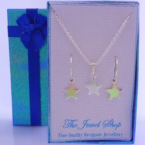 STERLING SILVER MATCHING 9mm STAR CHARM NECKLACE & 14mm SLEEPER EARRINGS GORGEOUS SHIMMERING GIFT BOX