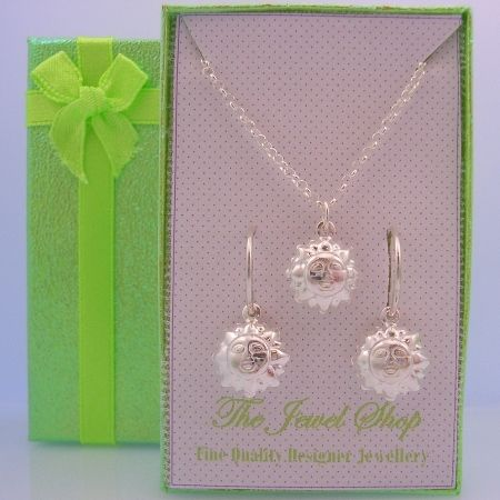 STERLING SILVER MATCHING SUN GOD CHARM NECKLACE & 14mm SLEEPER EARRINGS GORGEOUS SHIMMERING GIFT BOX