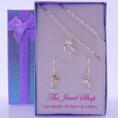STERLING SILVER MATCHING DOLPHIN CHARM EARRINGS & BRACELET GORGEOUS SHIMMERING GIFT BOX