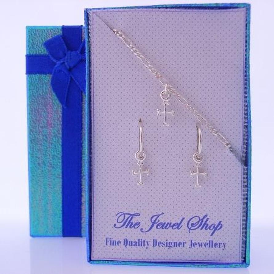 STERLING SILVER BABY CROSS MATCHING NECKLACE & 8mm SLEEPER EARRINGS GORGEOUS SHIMMERING GIFT BOX