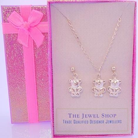 STERLING SILVER TEDDY BEAR MATCHING NECKLACE & STUD EARRINGS GORGEOUS GIFT BOX