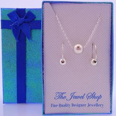STERLING SILVER BALL BEADS MATCHING NECKLACE & 14mm SLEEPER EARRINGS GORGEOUS SHIMMERING GIFT BOX