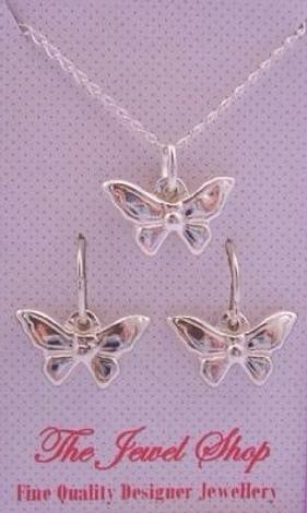 STERLING SILVER BUTTERFLY MATCHING NECKLACE and SLEEPER EARRINGS SET
