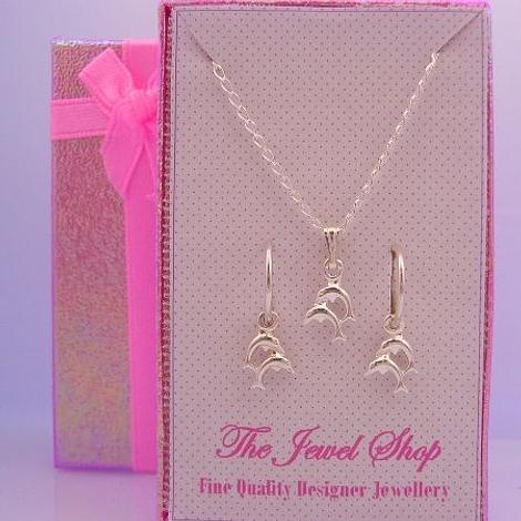 STERLING SILVER MATCHING DOLPHIN CHARM NECKLACE & 12mm SLEEPER EARRINGS GORGEOUS SHIMMERING GIFT BOX