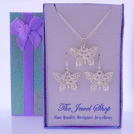STERLING SILVER FILIGEE BUTTERFLY CHARMS MATCHING EARRINGS & NECKLACE GORGEOUS SHIMMERING GIFT BOX