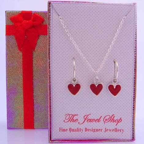RED HEART CHARM MATCHING EARRINGS & NECKLACE GIFT BOX