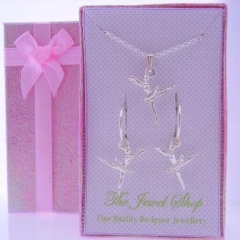 STERLING SILVER BALLERINA CHARM MATCHING 12mm SLEEPER EARRINGS & NECKLACE GORGEOUS SHIMMERING GIFT BOX