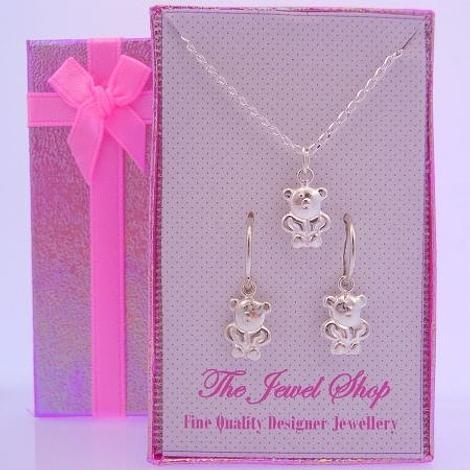 STERLING SILVER TEDDY BEAR CHARMS MATCHING EARRINGS & NECKLACE GIFT BOX
